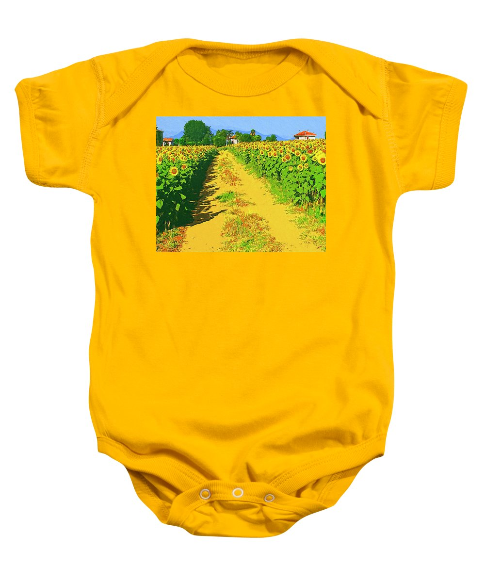 Tuscany Baby Onesie featuring the painting Tuscany Sunflowers by Dominic Piperata