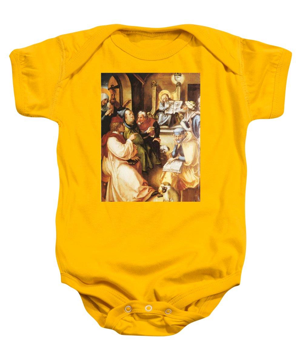 Twelve Baby Onesie featuring the painting Twelve Year Old Jesus In The Temple 1497 by Durer Albrecht
