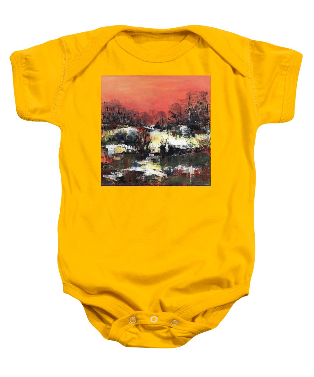 Abstract Baby Onesie featuring the painting Twilight Madness by Aniko Hencz