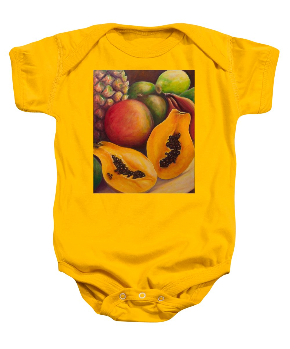 Papaya Baby Onesie featuring the painting Twins by Shannon Grissom