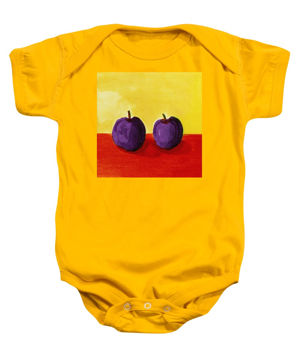 Yellow Baby Onesie featuring the painting Two Plums by Michelle Calkins