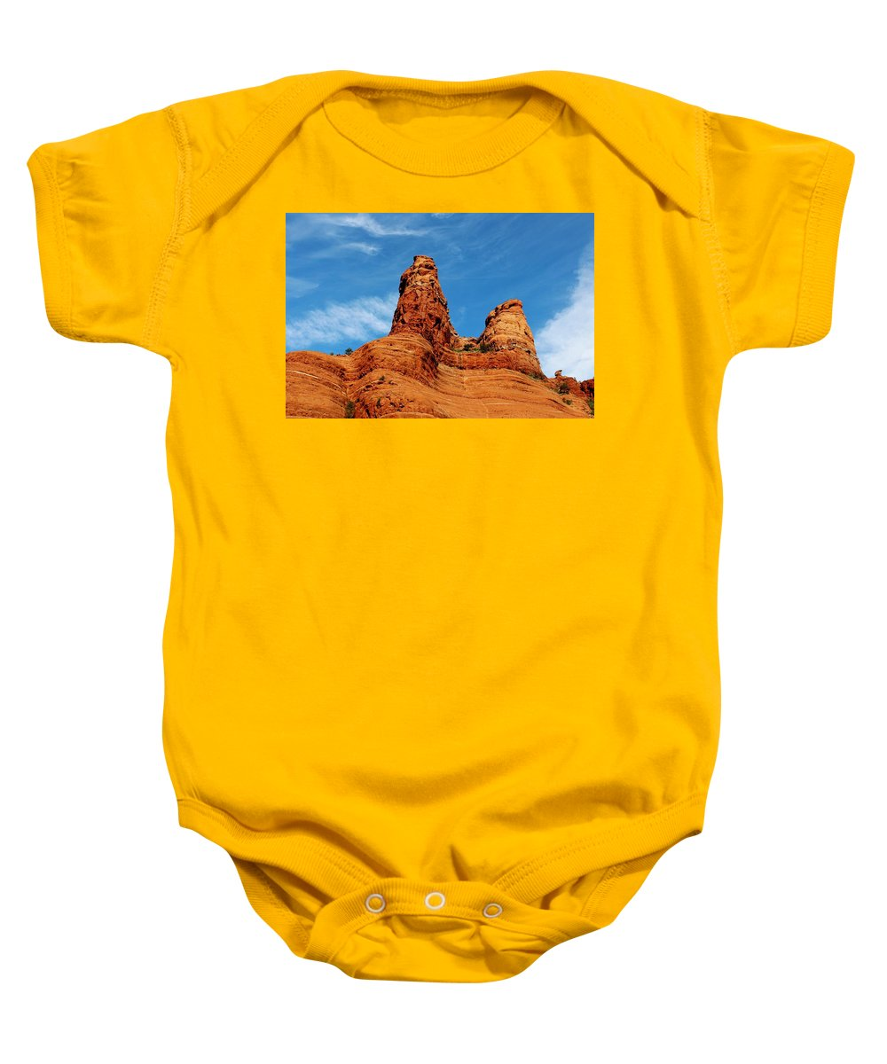 Landscape Baby Onesie featuring the photograph Two Sisters Formation Sedona Az Hbn2 by Edward Dobosh