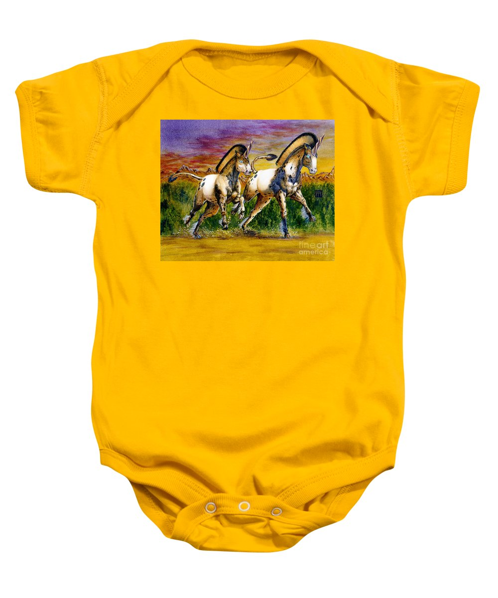 Artwork Baby Onesie featuring the painting Unicorns In Sunset by Melissa A Benson