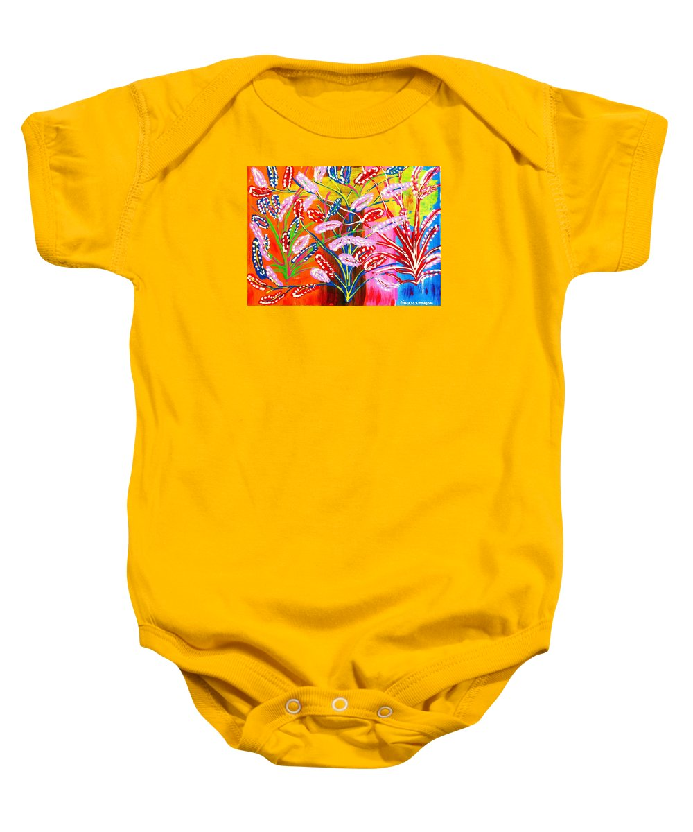 Unknown Flowers Baby Onesie featuring the painting Unknown Flowers by Gina Nicolae Johnson