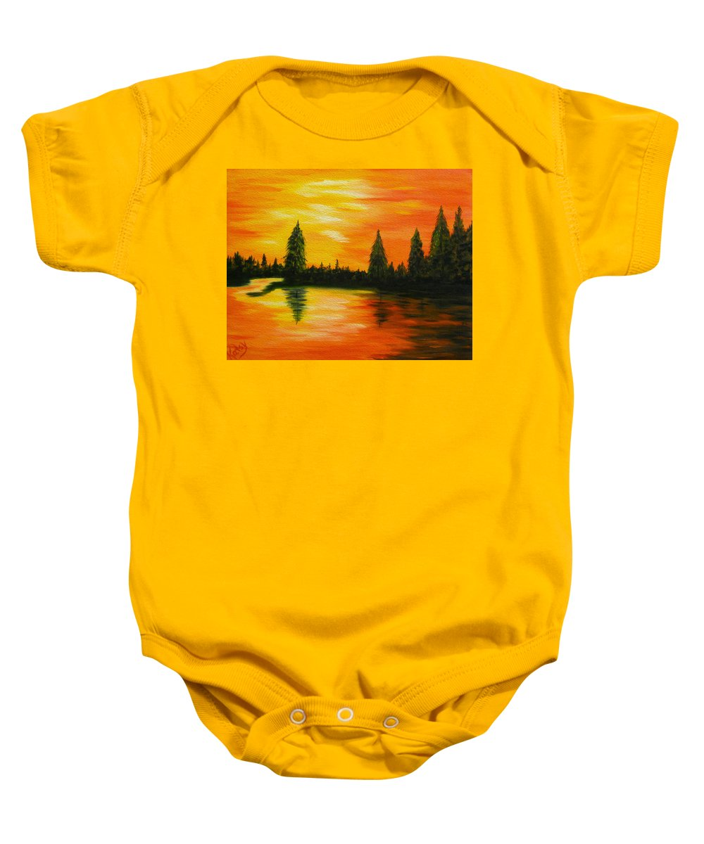 Evergreen Trees Baby Onesie featuring the painting Up North by Kathy Symonds