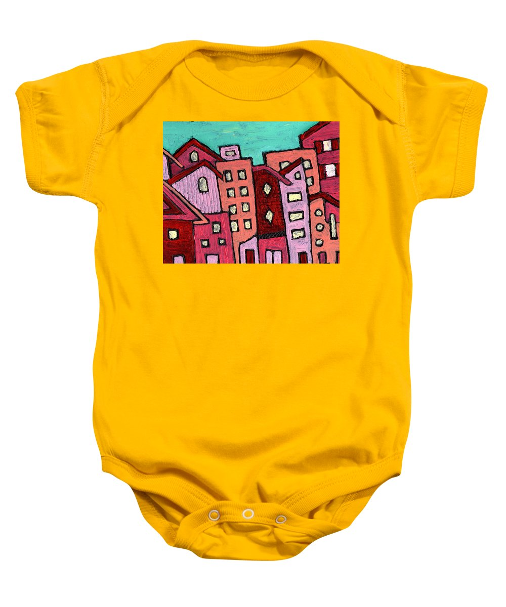 City Scene Baby Onesie featuring the painting Urban Heat by Wayne Potrafka