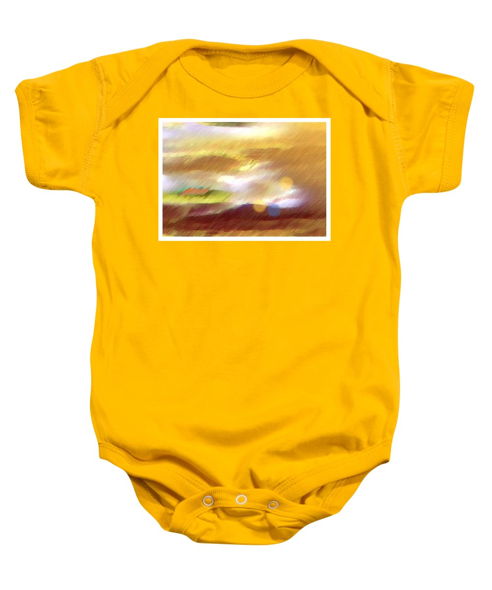 Landscape Baby Onesie featuring the painting Valleylights by Anil Nene