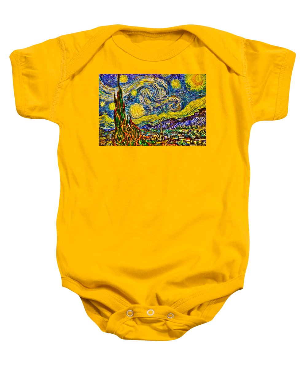 Art Baby Onesie featuring the photograph Van Gogh's 'starry Night' - Hdr by Randy Aveille