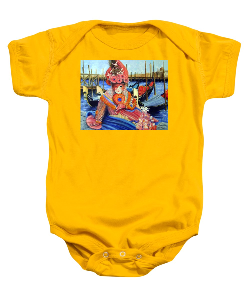 Venice Baby Onesie featuring the painting Venetian Carneval Mask With Bird Cage by Leonardo Ruggieri