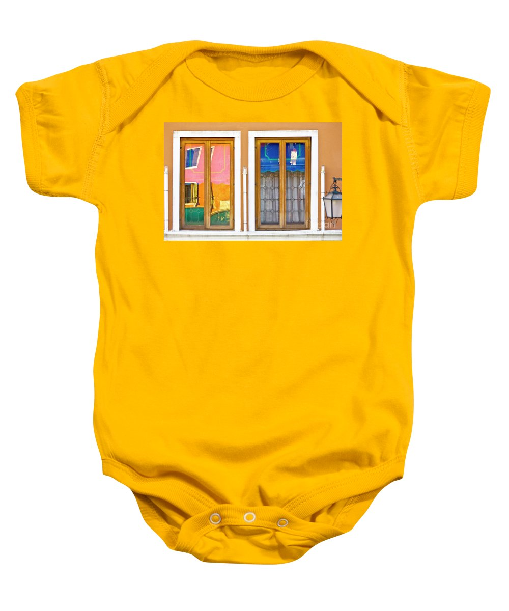 Europe Baby Onesie featuring the photograph Venetian Window Reflections by Heiko Koehrer-Wagner
