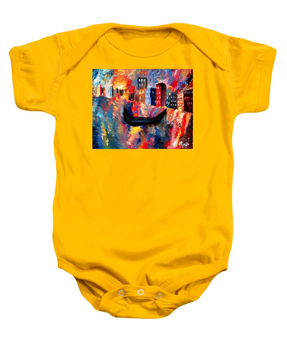 Venice Baby Onesie featuring the painting Venice By Night by Michael Grubb