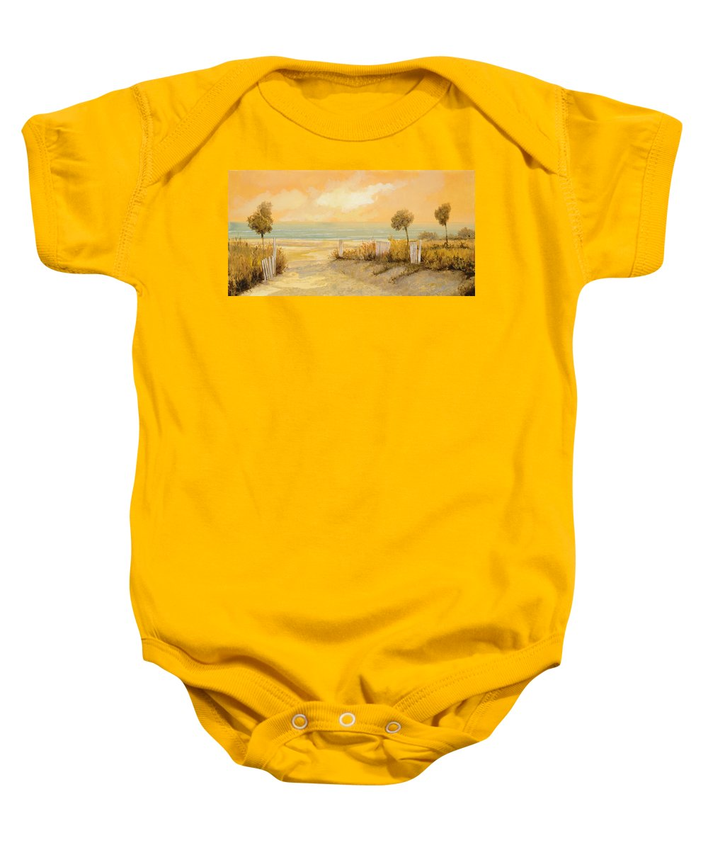Beach Baby Onesie featuring the painting Verso La Spiaggia by Guido Borelli