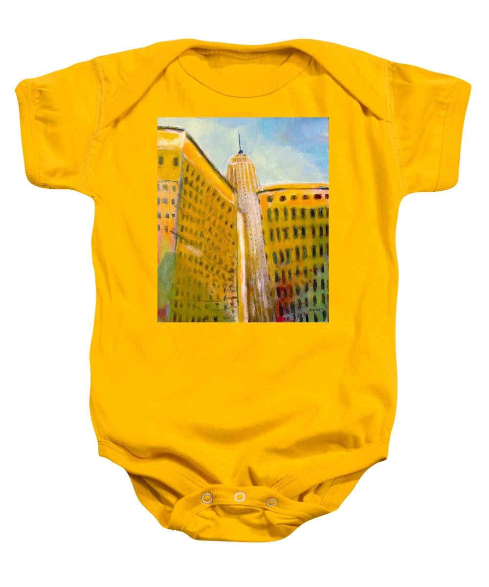 Abstract Cityscape Baby Onesie featuring the painting View From The 33 St by Habib Ayat