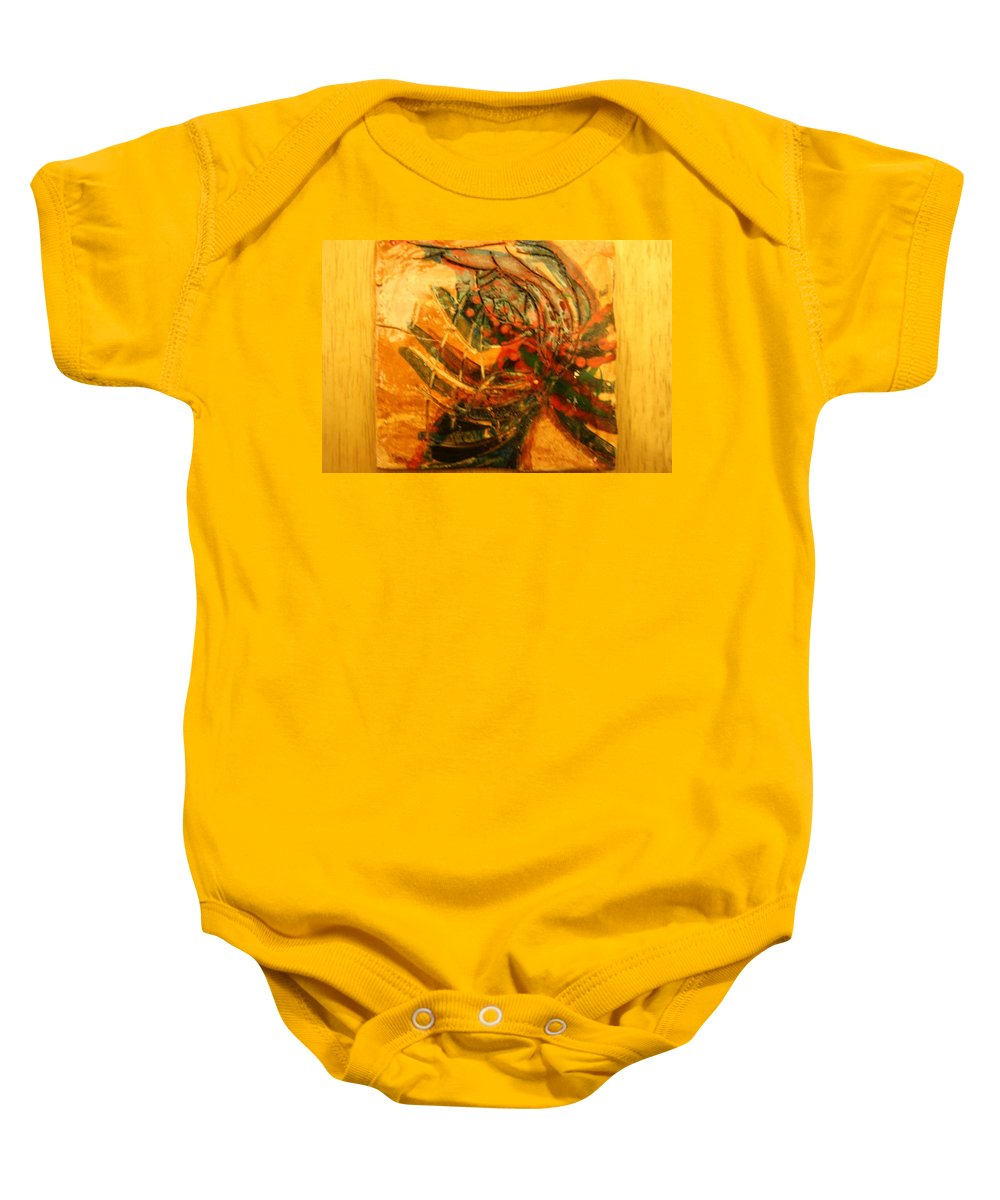 Jesus Baby Onesie featuring the ceramic art Visions Of Dance - Tile by Gloria Ssali