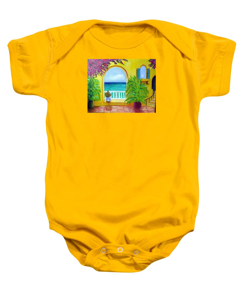 Patio Baby Onesie featuring the painting Vista Del Agua by Laurie Morgan