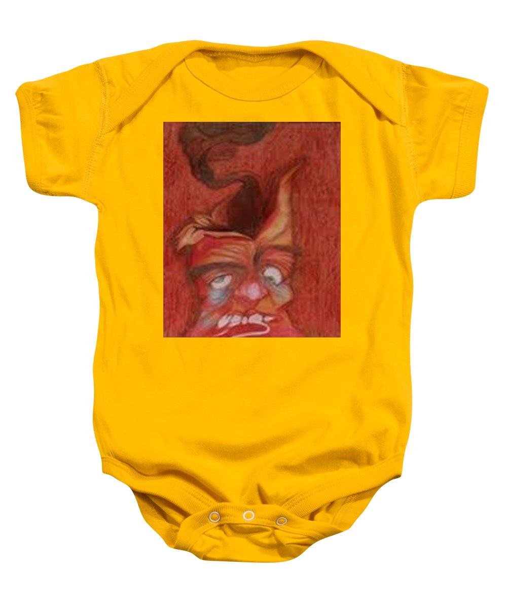 Oil Pastel Drawing Baby Onesie featuring the pastel Volcano by Pooja Patel