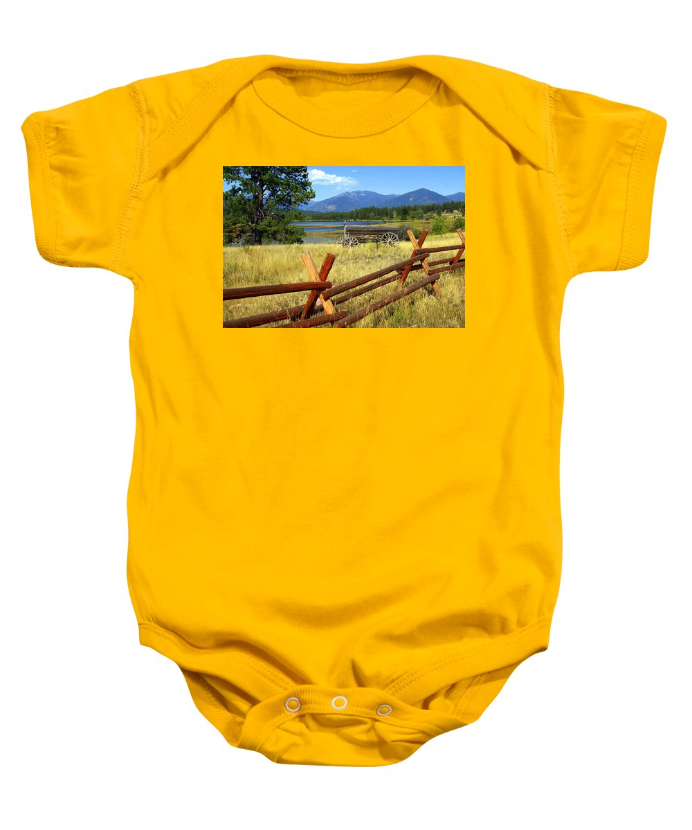 Landscape Baby Onesie featuring the photograph Wagon West by Marty Koch