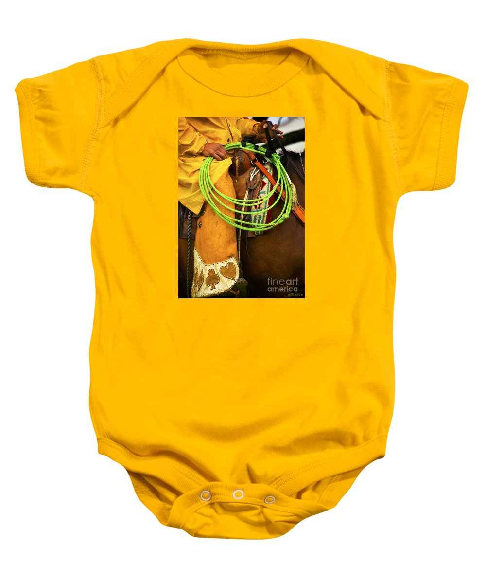 Western Baby Onesie featuring the photograph Waiting To Lasso by Phyllis Webster