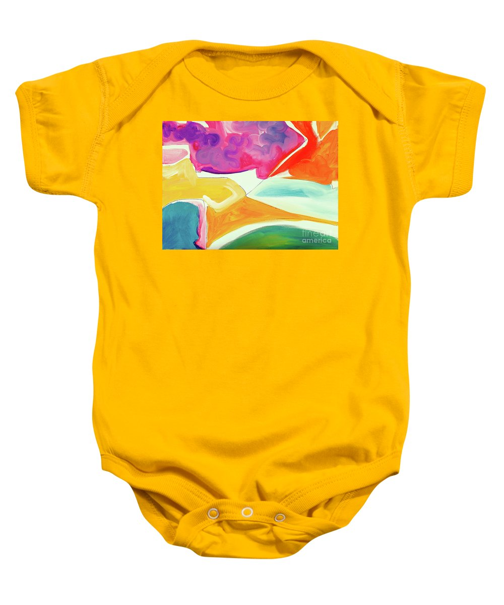 Minimalist Artwork On Canvas Full Of Saturated Color Blocks .thin Black Lines With Some Bright Pastels Becoming Highlights And Accents .deep Turquoise Baby Onesie featuring the painting Wandering I by Expressionistart studio Priscilla Batzell