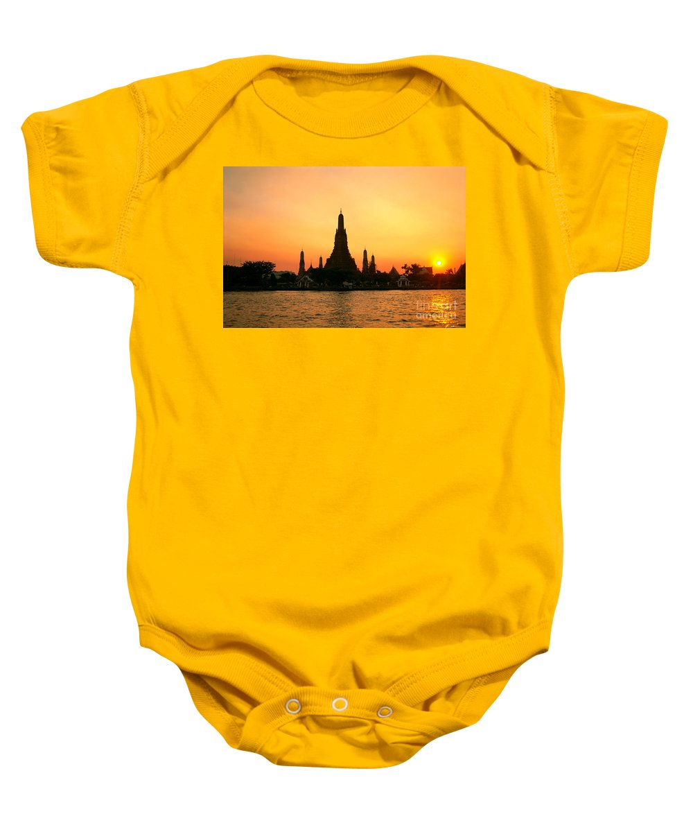 Architecture Baby Onesie featuring the photograph Wat Anun Temple by Rita Ariyoshi - Printscapes