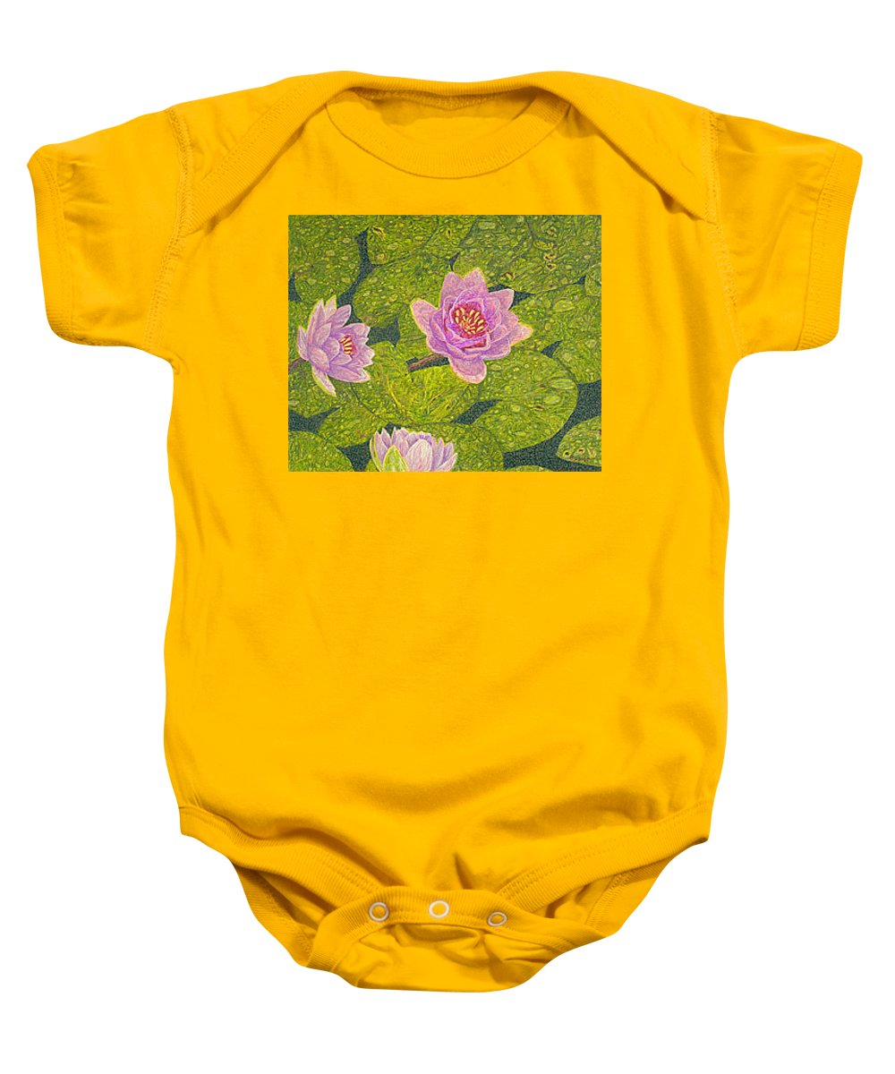 Water Lilies Baby Onesie featuring the drawing Water Lilies Lily Flowers Lotuses Fine Art Prints Contemporary Modern Art Garden Nature Botanical by Baslee Troutman