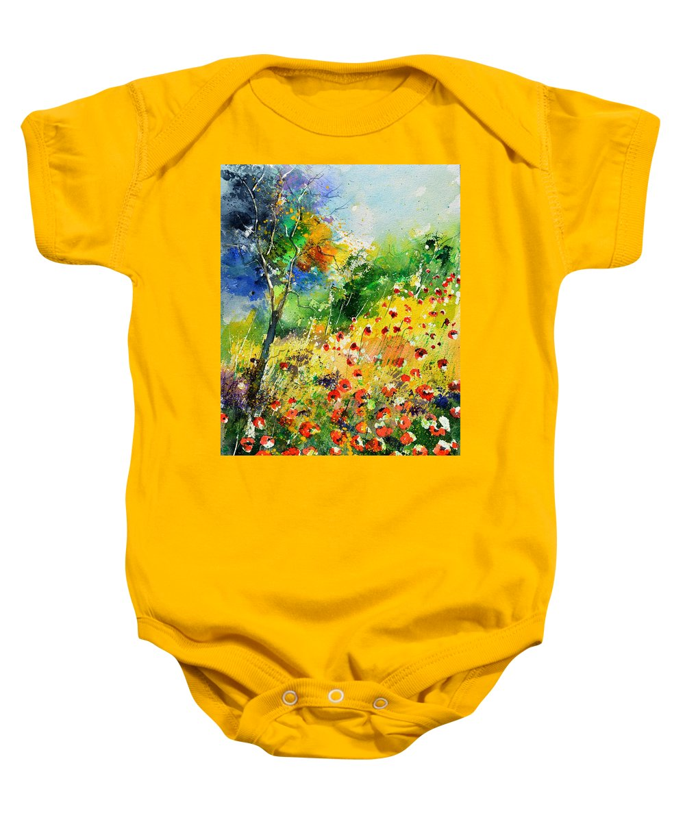 Poppies Baby Onesie featuring the painting Watercolor poppies 518001 by Pol Ledent