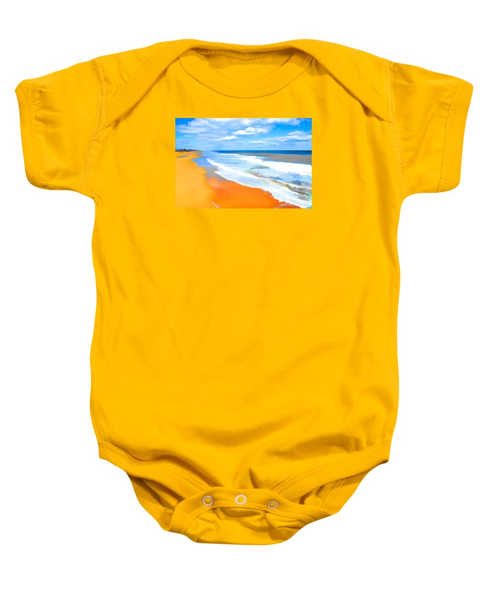 Waves Lapping On Beach Baby Onesie featuring the painting Waves Lapping On Beach 8 by Jeelan Clark