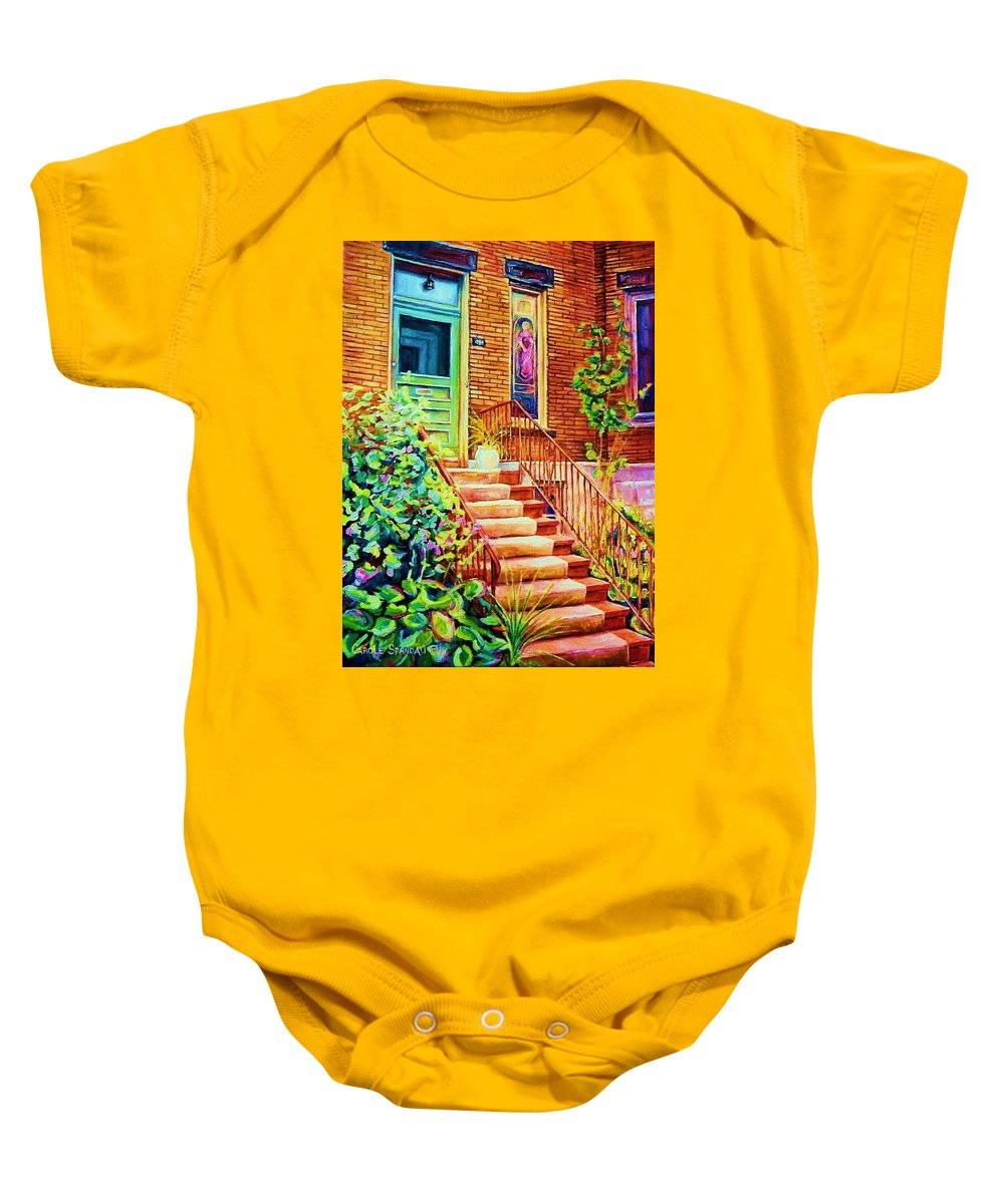 Westmount Home Baby Onesie featuring the painting Westmount Home by Carole Spandau