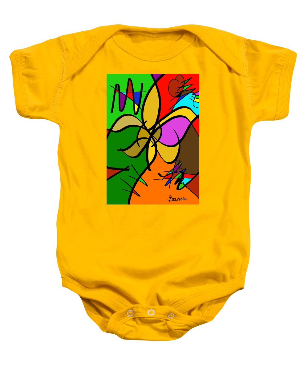 Fleur Baby Onesie featuring the digital art What Once Was by Salvadore Delvisco