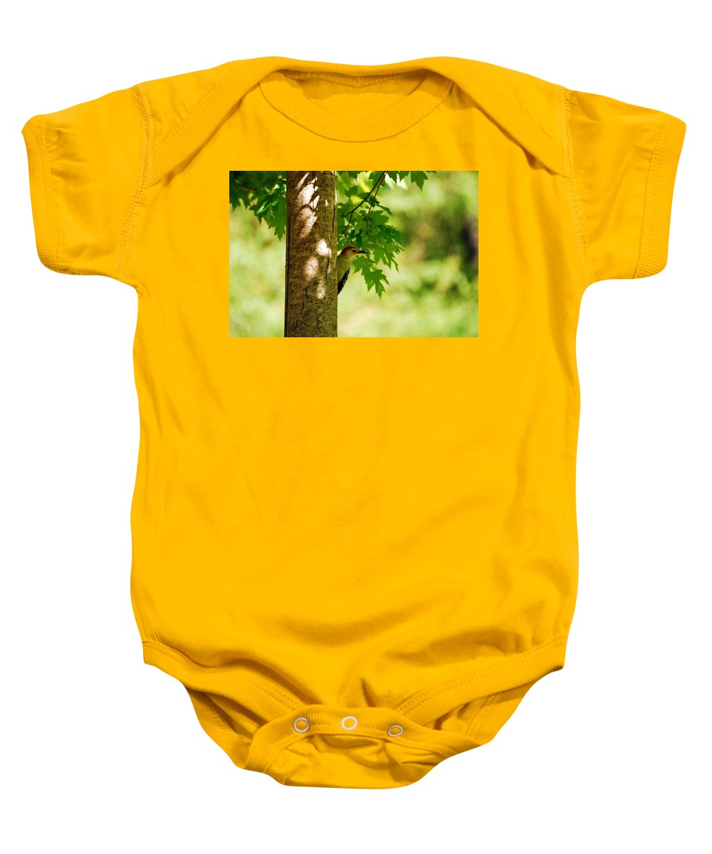 Woodpecker Baby Onesie featuring the photograph Whats A Woodpecker To Do by Lori Tambakis