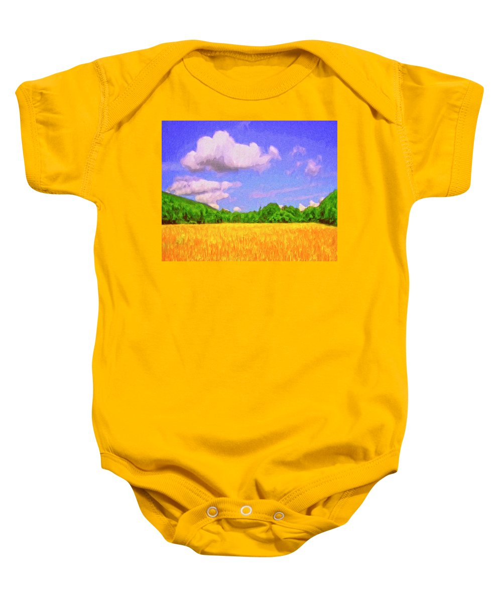 Wheat Field Baby Onesie featuring the painting Wheat Field by Dominic Piperata
