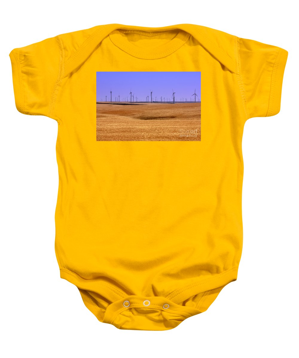Wind Turbines Baby Onesie featuring the photograph Wheat Fields And Wind Turbines by Carol Groenen