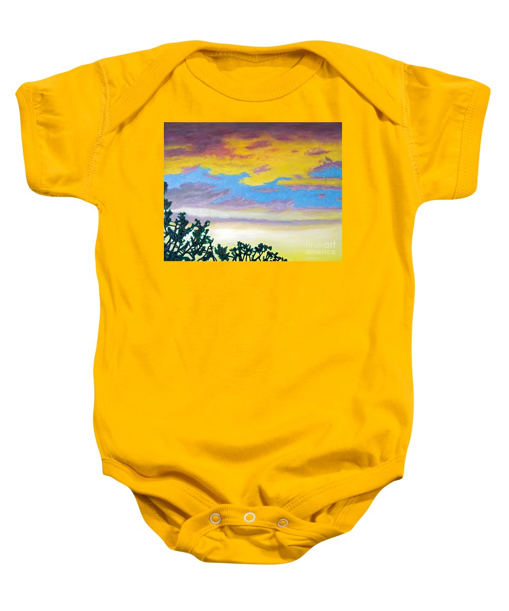 Skyscape Baby Onesie featuring the painting When I'm Gone by Brian Commerford