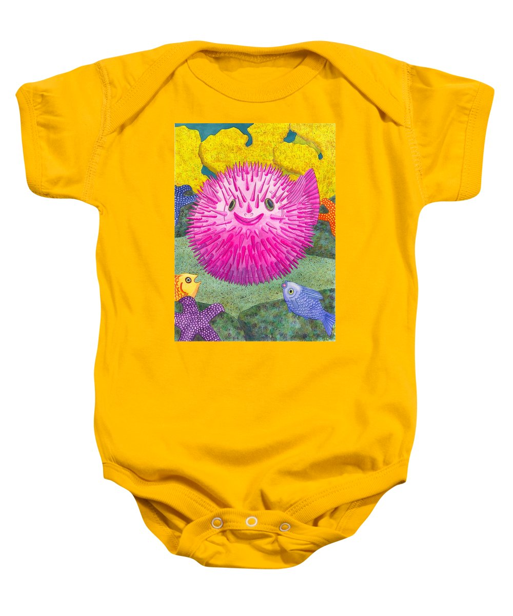 Puffer Fish Baby Onesie featuring the painting Where's Pinkfish by Catherine G McElroy