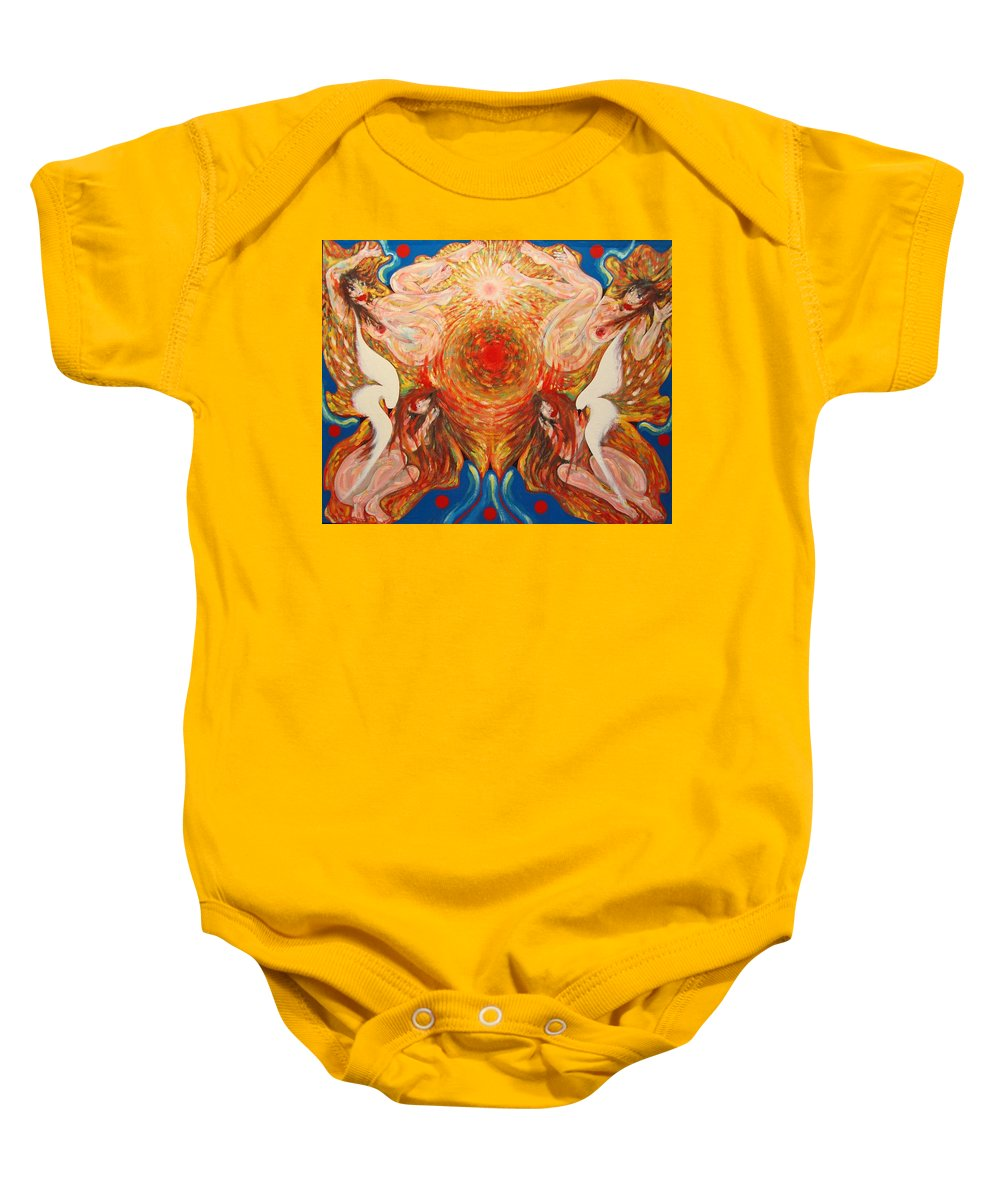Imagination Baby Onesie featuring the painting Whirl by Wojtek Kowalski