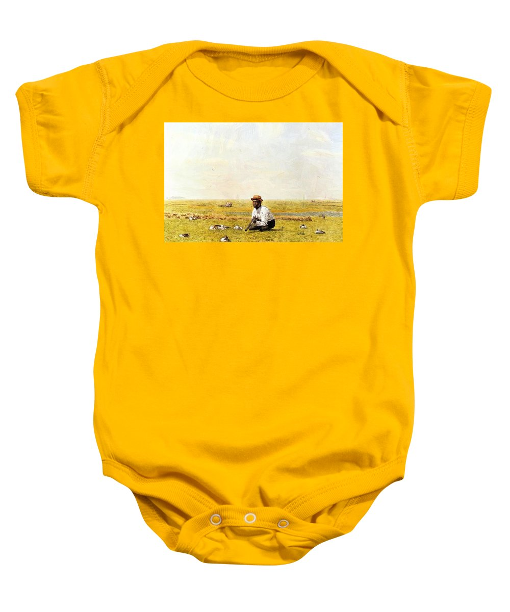 Whistling Baby Onesie featuring the painting Whistling For Plover 1874 by Eakins Thomas