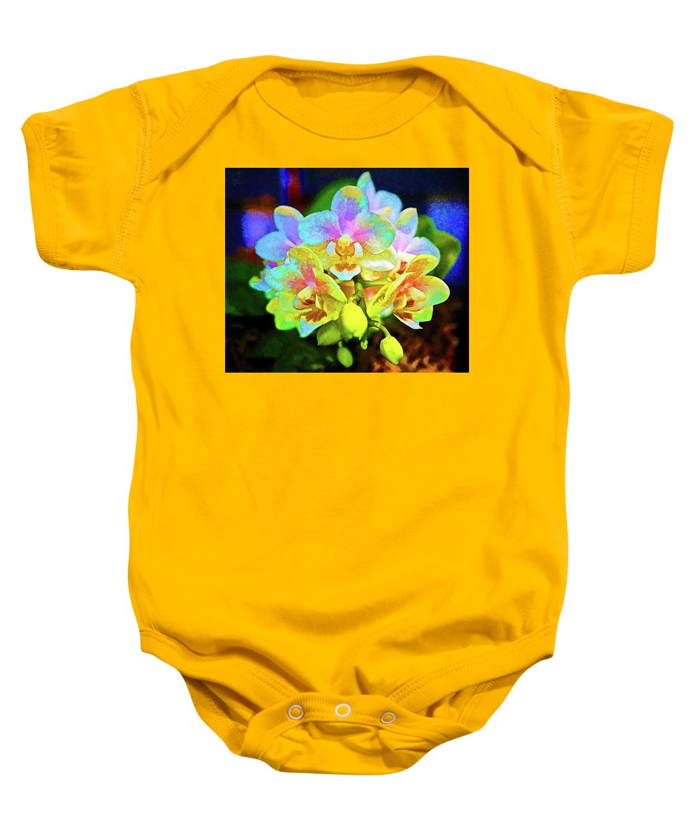 Orchid Baby Onesie featuring the photograph White Orchids Pastel by Kenneth Roberts