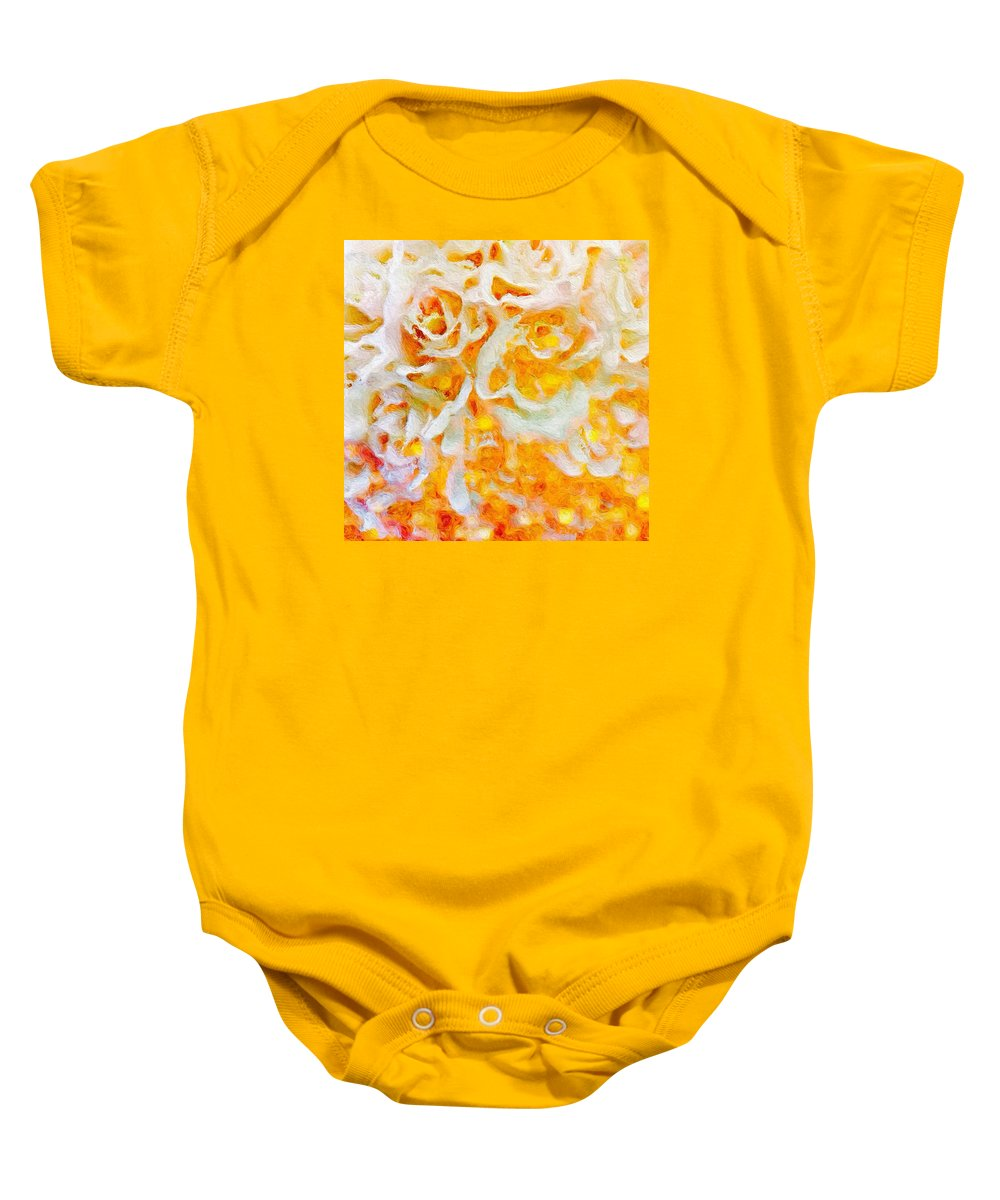 Abstract Baby Onesie featuring the photograph White Roses by Rita Koivunen