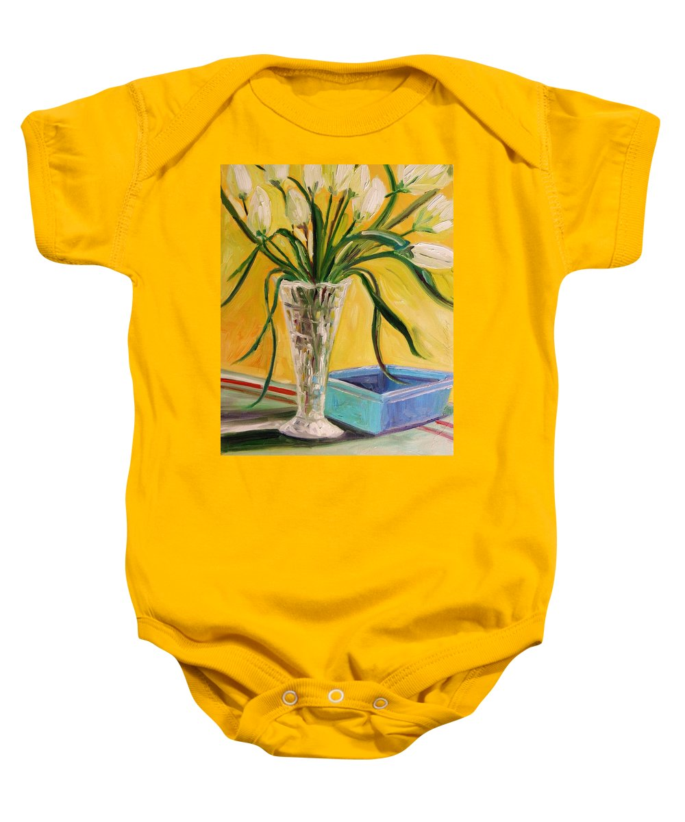Tulips Baby Onesie featuring the painting White Tulips In Cut Glass by John Williams