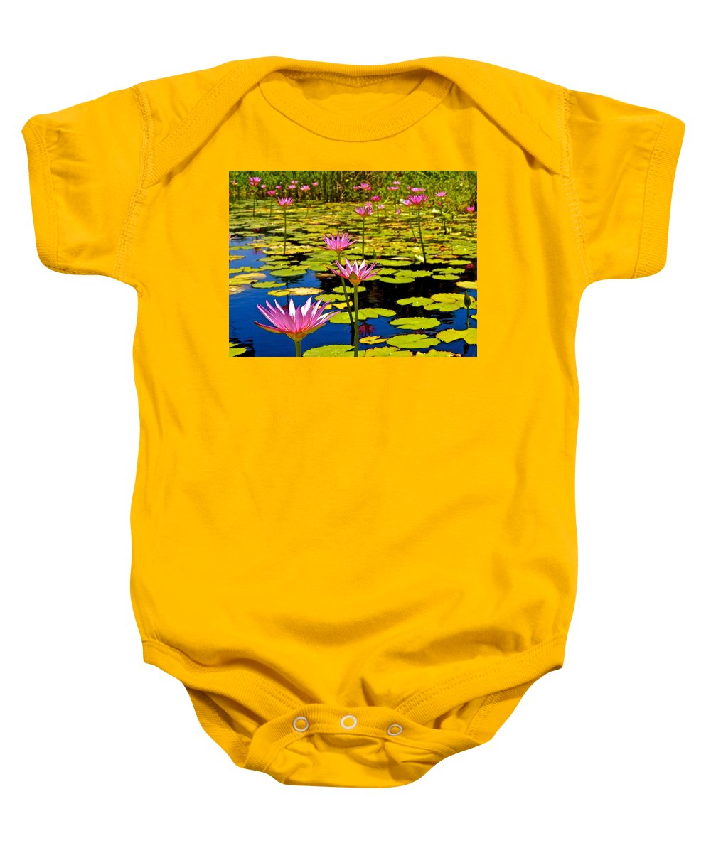 Lotus Baby Onesie featuring the photograph Wild Water Lilies 3 by Joe Wyman