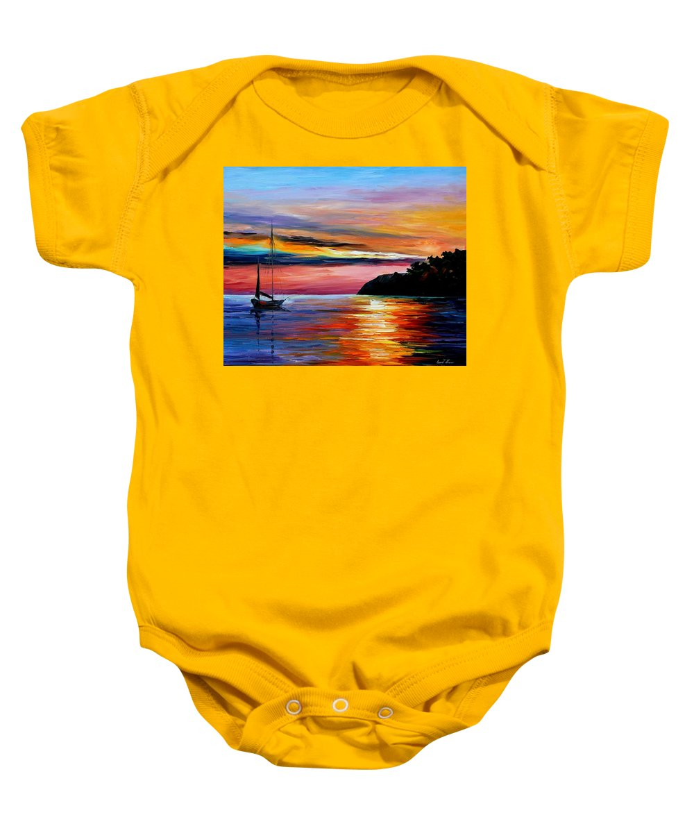 Afremov Baby Onesie featuring the painting Wind Of Hope by Leonid Afremov