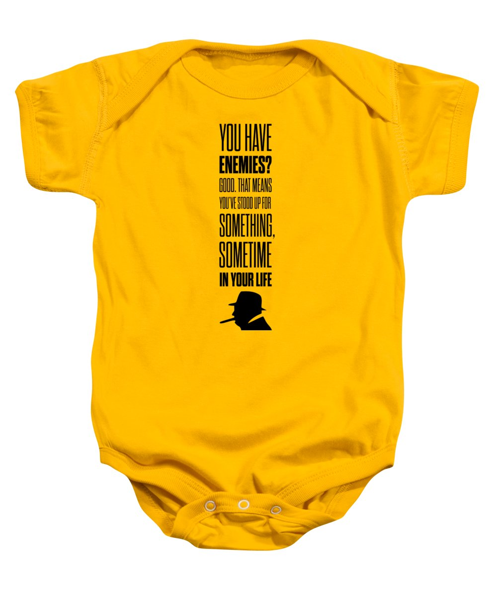 Winston Churchill Baby Onesie featuring the digital art Winston Churchill Inspirational Quotes Poster by Lab No 4 - The Quotography Department
