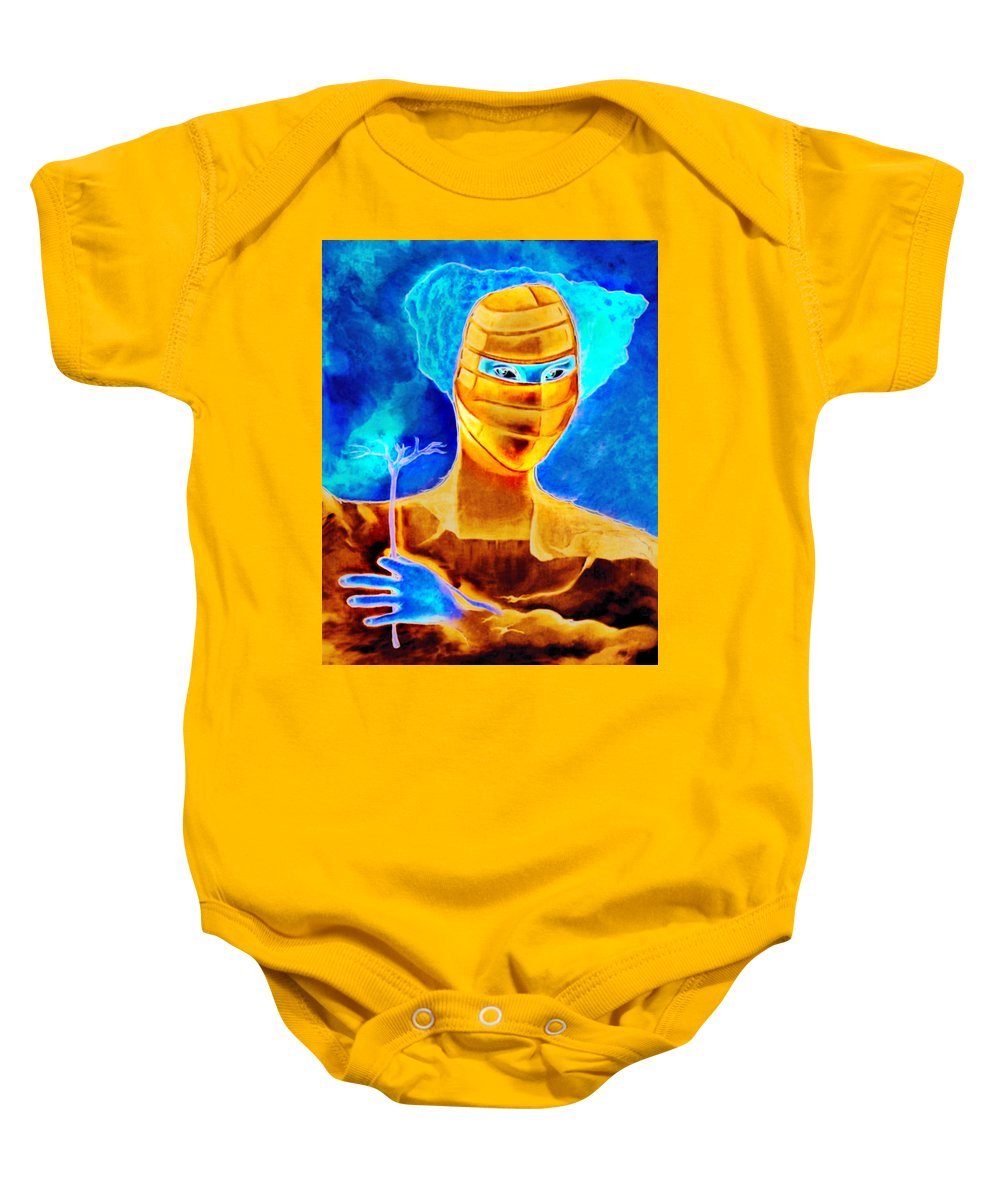 Blue Woman Mask Mistery Eyes Baby Onesie featuring the painting Woman In The Blue Mask by Veronica Jackson