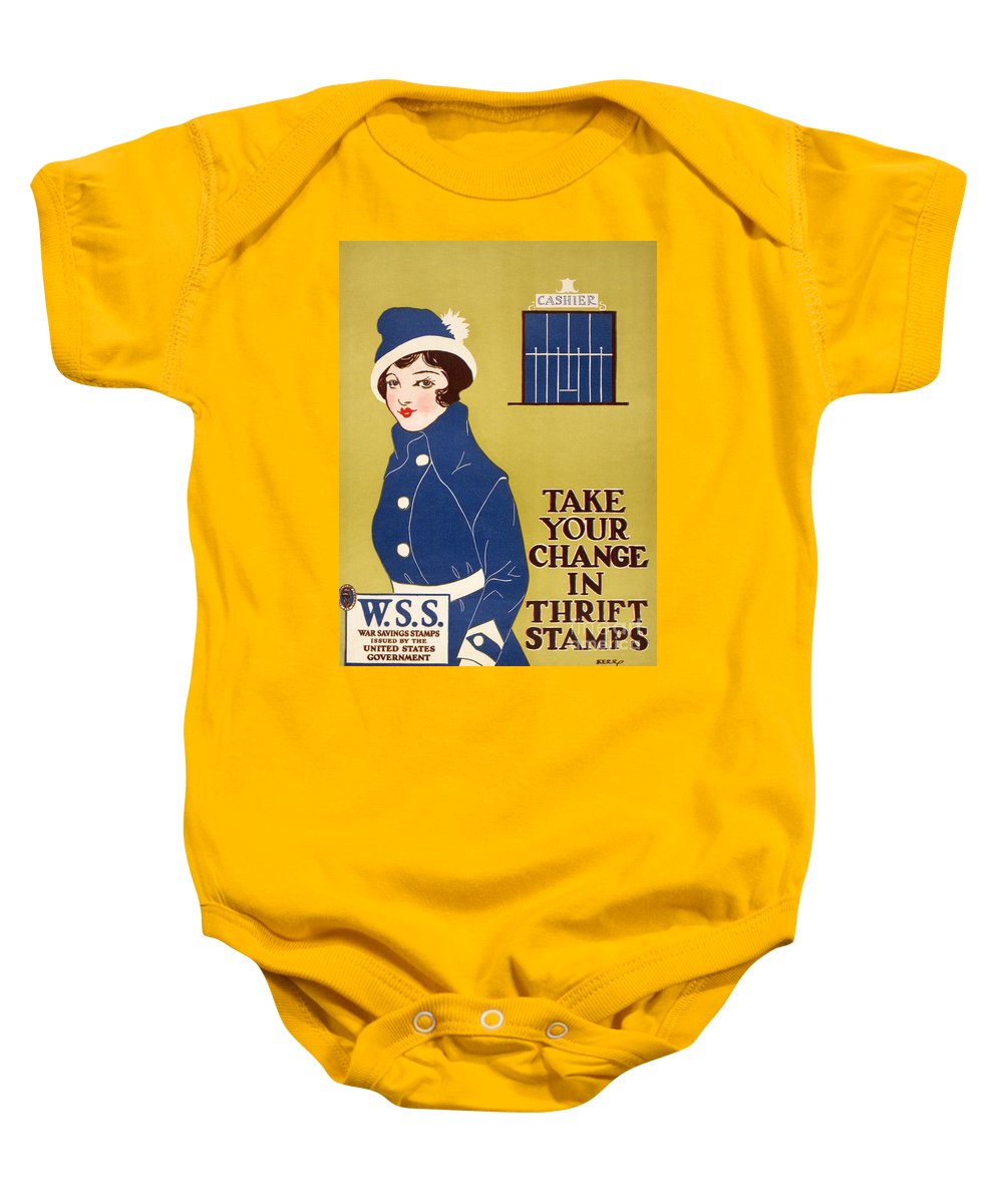 1917 Baby Onesie featuring the photograph World War I: Thrift Stamps by Granger