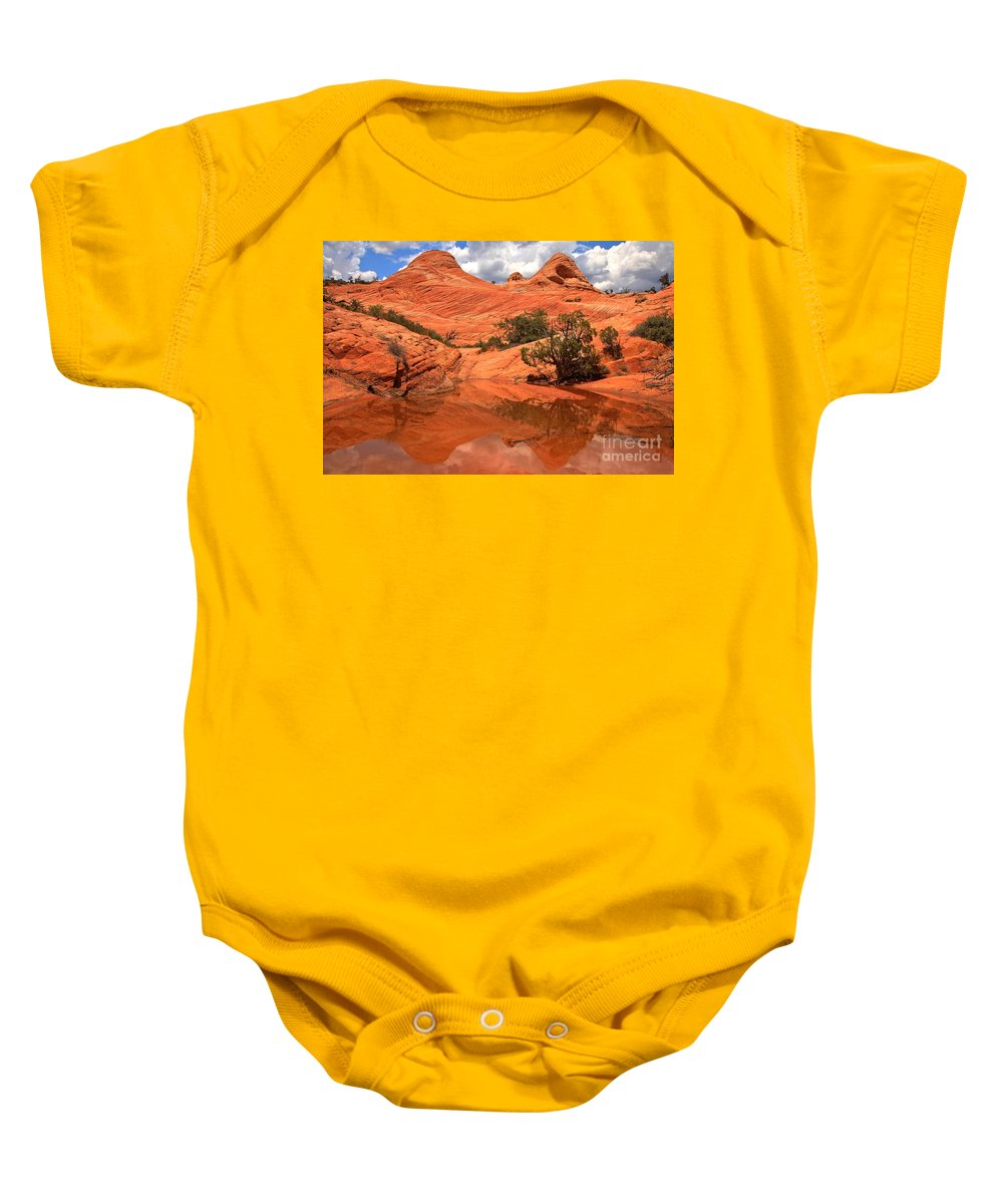 Yant Flat Reflections Baby Onesie featuring the photograph Yant Flat Hidden Gem by Adam Jewell