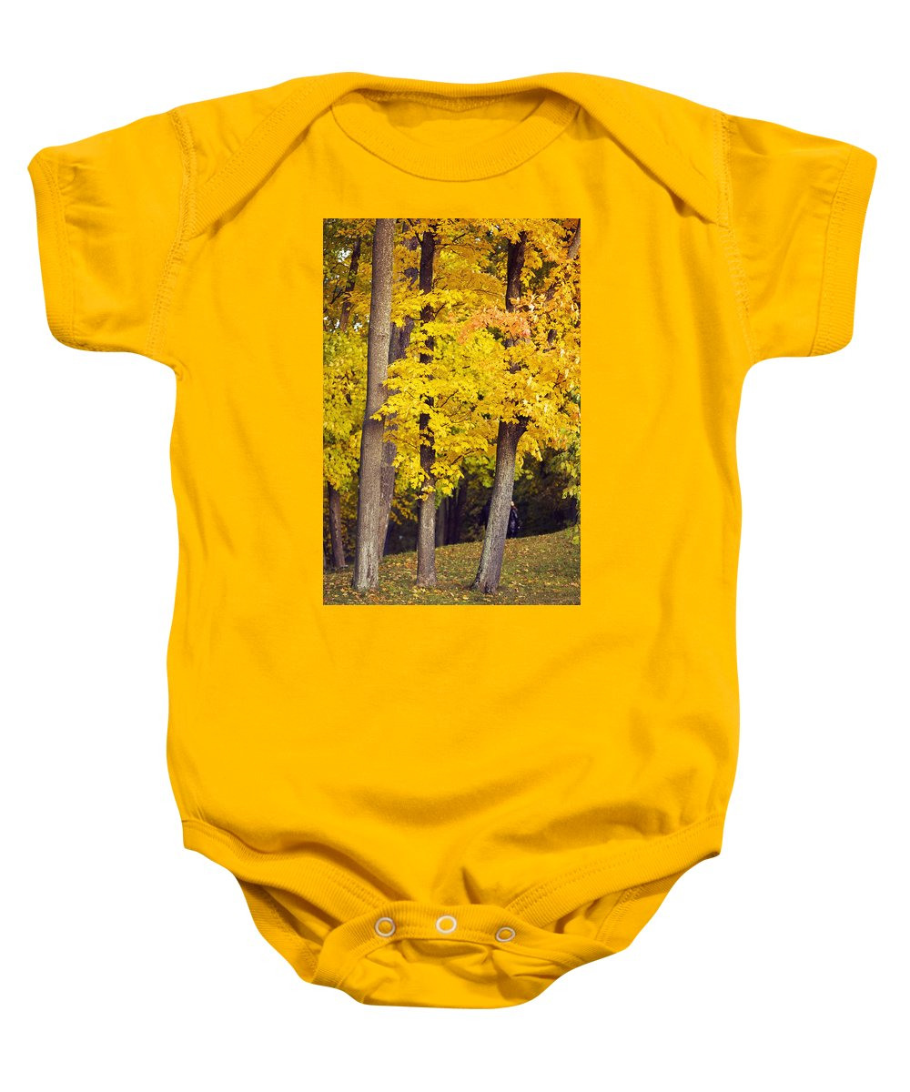 Yellow Baby Onesie featuring the photograph Yellow Autumn Trees by Sandra Rugina