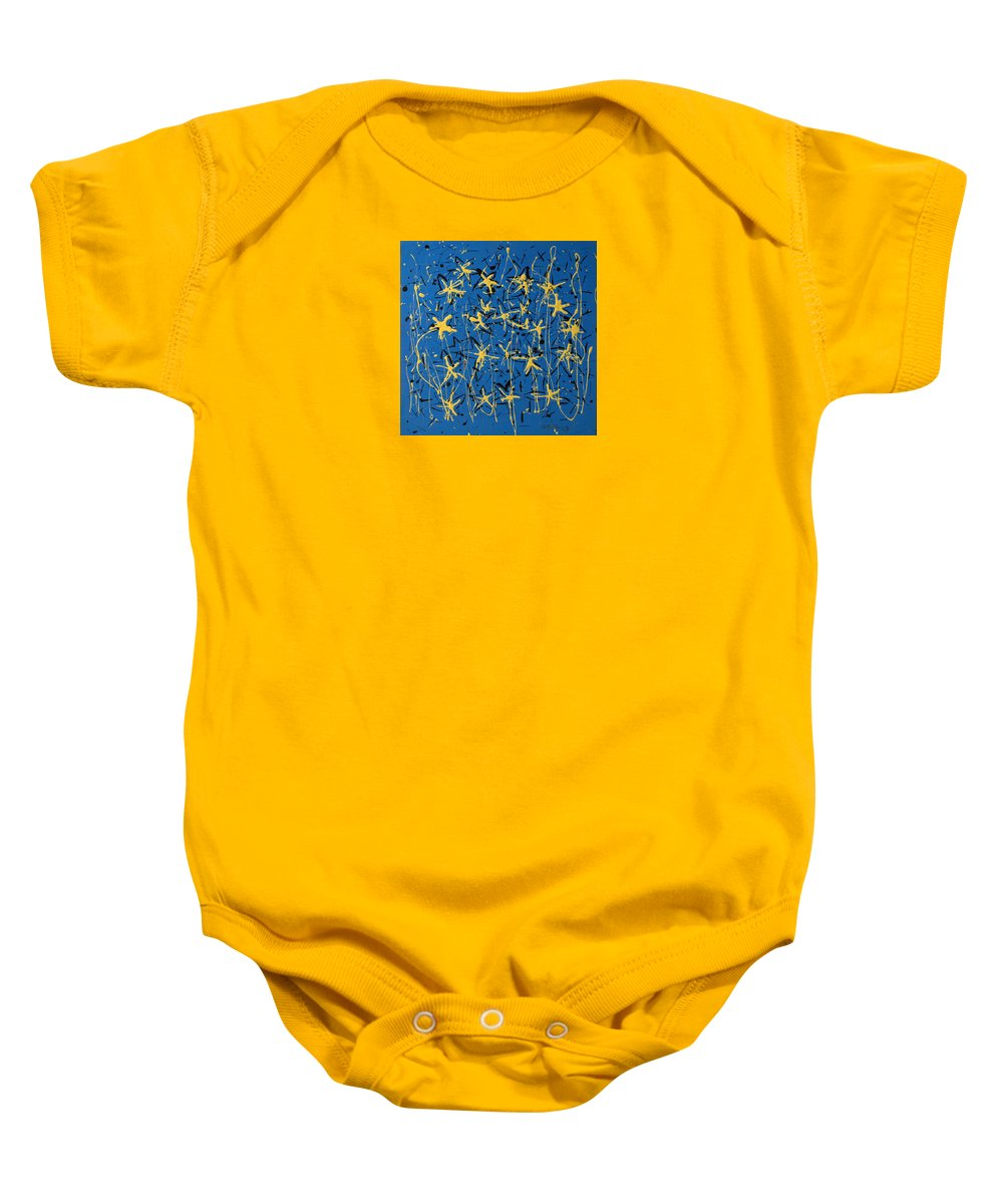 Abstract Painting Baby Onesie featuring the painting Yellow Blue by J R Seymour