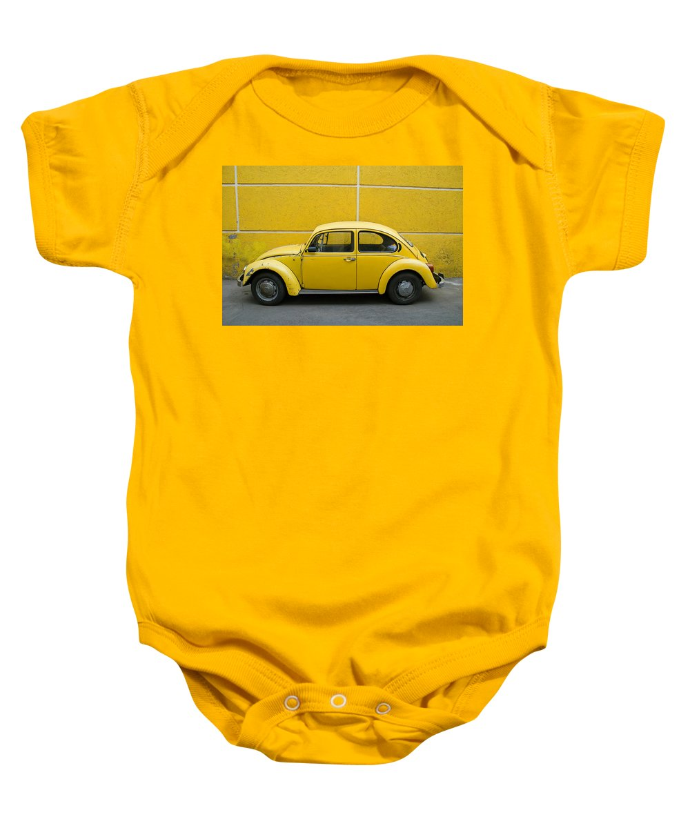 Yellow Baby Onesie featuring the photograph Yellow Bug by Skip Hunt