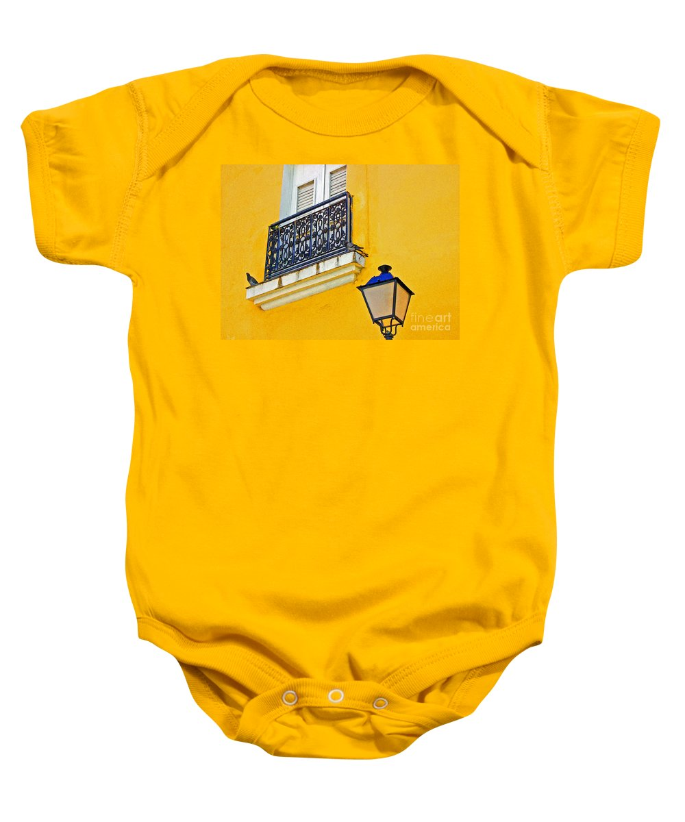 Pigeon Baby Onesie featuring the photograph Yellow Building by Debbi Granruth