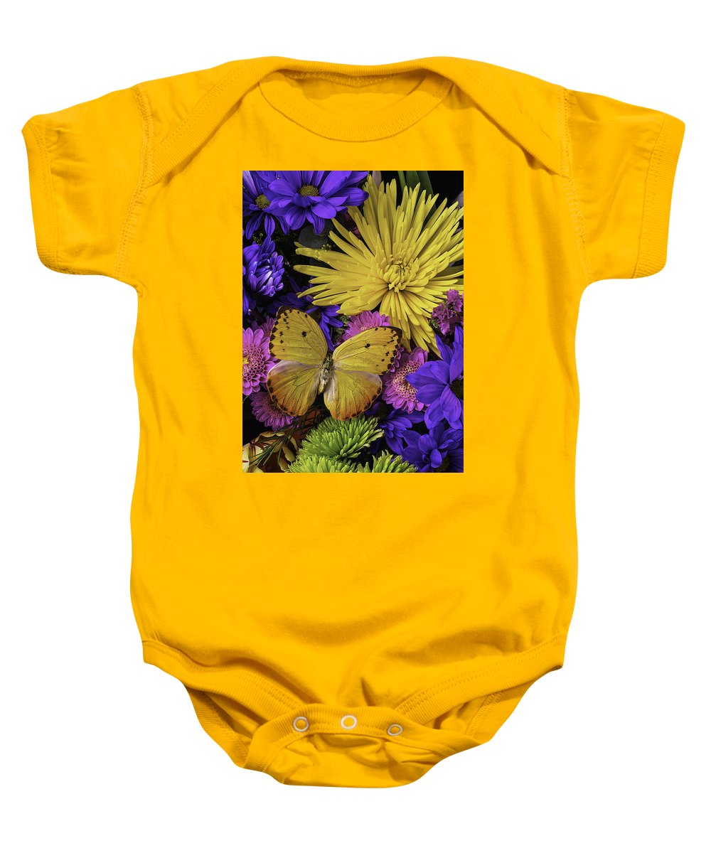 Daisy Baby Onesie featuring the photograph Yellow Butterfly On Bouquet by Garry Gay